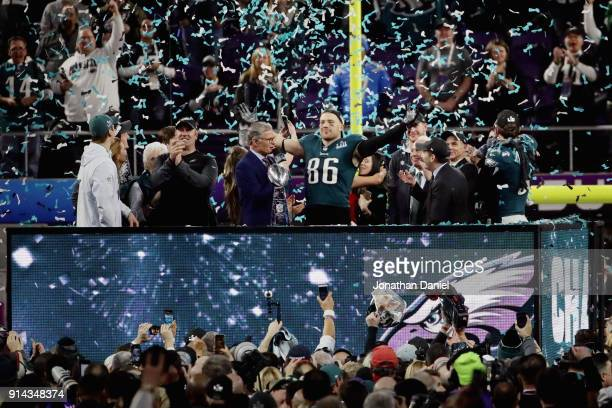 Zach Ertz of the Philadelphia Eagles celebrates with the Vince Lombardi Trophy after the Eagles defeated the New England Patriots in Super Bowl LII...