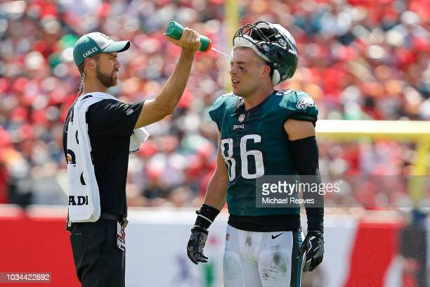 4f7be28ec Zach Ertz of the Philadelphia Eagles cools off during a timeout against the  Tampa Bay Buccaneers