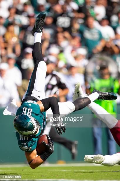 Zach Ertz of the Philadelphia Eagles is tackled in the third quarter against the Washington Redskins at Lincoln Financial Field on September 8, 2019...