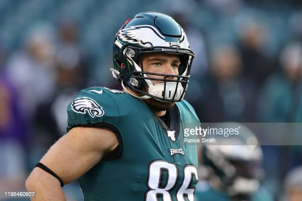 Zach Ertz of the Philadelphia Eagles looks on before the game against the Dallas Cowboys at Lincoln Financial Field on December 22, 2019 in...