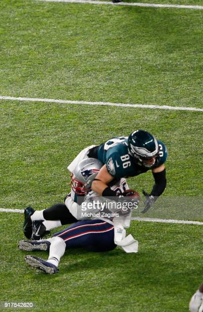 Zach Ertz of the Philadelphia Eagles makes a reception during the game against the New England Patriots in Super Bowl LII at US Bank Stadium on...