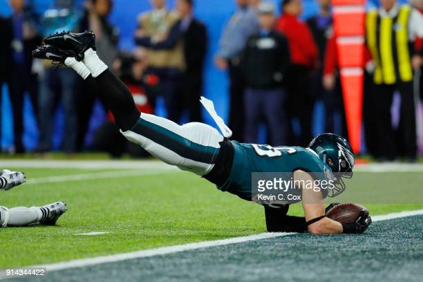 Zach Ertz of the Philadelphia Eagles makes an 11yard touchdown reception in the fourth quarter against the New England Patriots in Super Bowl LII at...
