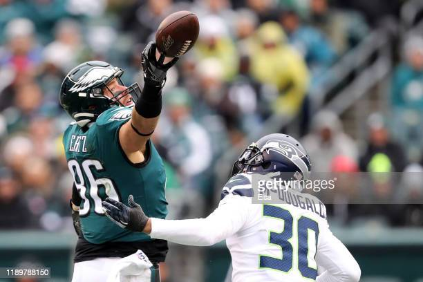 Zach Ertz of the Philadelphia Eagles misses a pass while being defended by Bradley McDougald of the Seattle Seahawks in the first half at Lincoln...