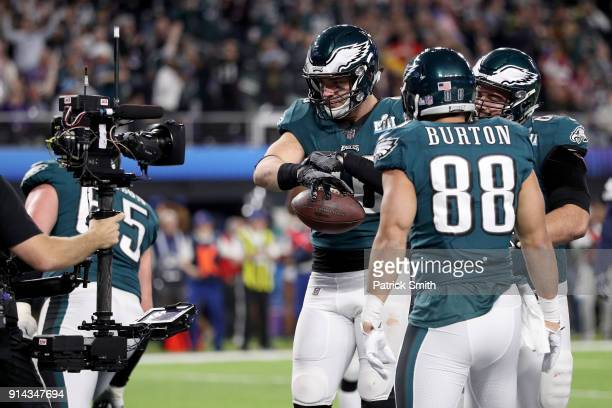 Zach Ertz of the Philadelphia Eagles reacts after a 11 yard touchdown catch against the New England Patriots during the fourth quarter in Super Bowl...