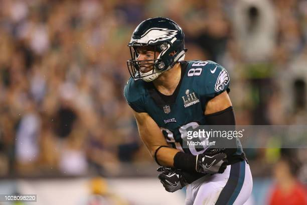 Zach Ertz of the Philadelphia Eagles reacts after catching a pass during the third quarter against the Atlanta Falcons at Lincoln Financial Field on...