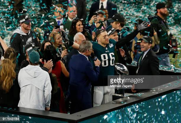 Zach Ertz of the Philadelphia Eagles salutes the fans following Super Bowl LII at US Bank Stadium on February 4 2018 in Minneapolis Minnesota