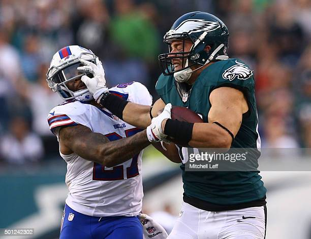 Zach Ertz of the Philadelphia Eagles stiff arms Duke Williams of the Buffalo Bills in the fourth quarter on December 13 2015 at the Lincoln Financial...