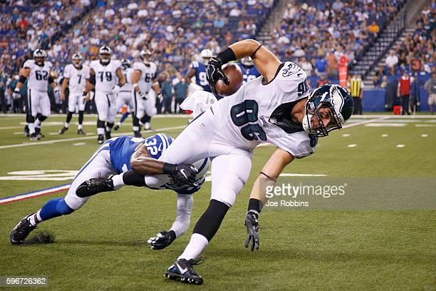 Zach Ertz of the Philadelphia Eagles stretches for a fiveyard gain after a reception against the Indianapolis Colts in the first quarter of an...