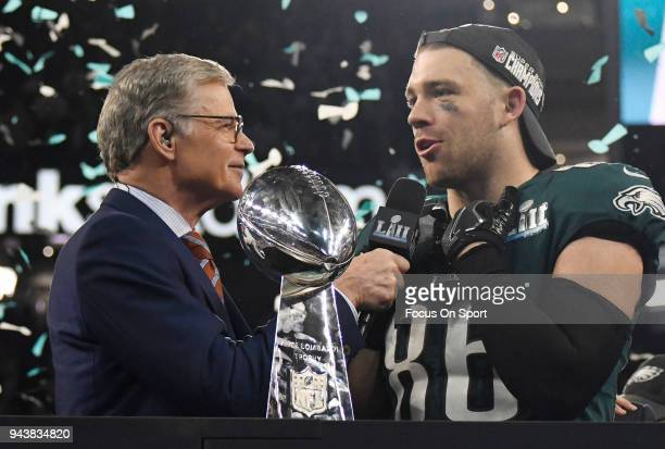 Zach Ertz of the Philadelphia Eagles talks with commentator Dan Patrick after the Eagles defeated the New England Patriots in Super Bowl LII at US...