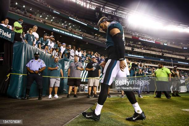 Zach Ertz of the Philadelphia Eagles walks off the field after a game against the Tampa Bay Buccaneers at Lincoln Financial Field on October 14, 2021...