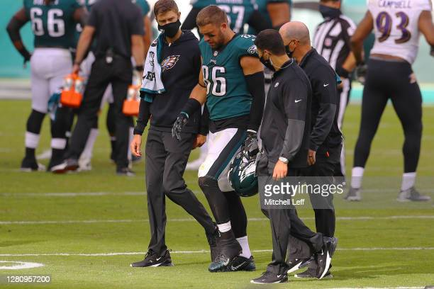 Zach Ertz of the Philadelphia Eagles walks off the field following an injurt during the fourth quarter against the Baltimore Ravens at Lincoln...
