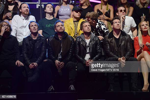 Zach Filkins Ryan Tedder Eddie Fisher Brent Kutzle and Drew Brown of One Republic are seen in the Glamour Pit during the MTV Europe Music Awards 2016...