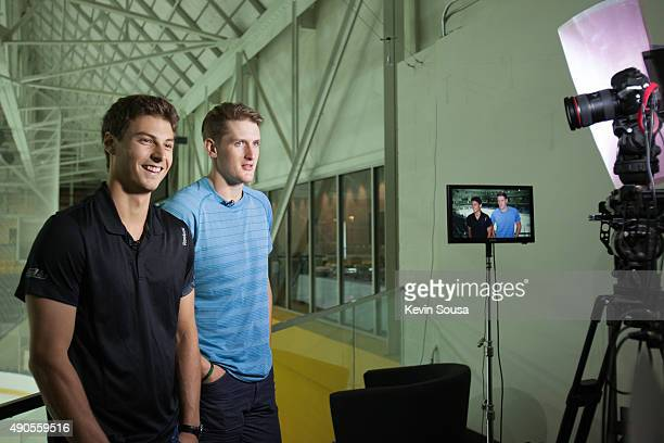 Zach Fucale and Michael McCarron of the Montreal Canadiens are interviewed at the 2015 NHLPA Rookie Showcase at Mattamy Athletic Centre on September...