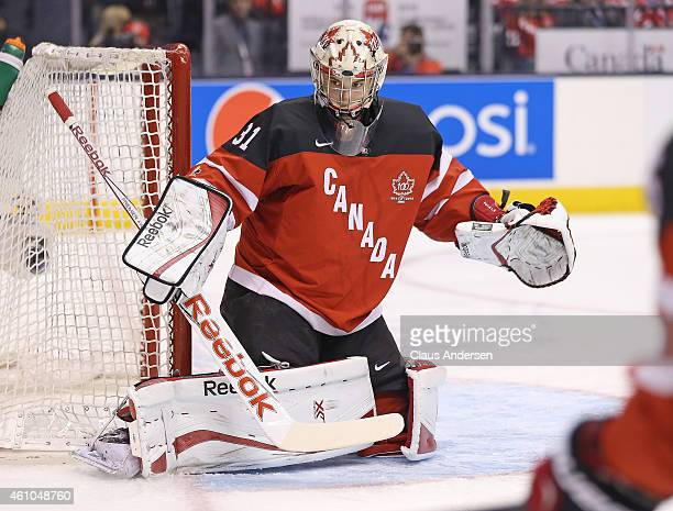 Zach Fucale of Team Canada watches for a rebound against Team Slovakia during a semifinal game at the 2015 IIHF World Junior Hockey Championship at...