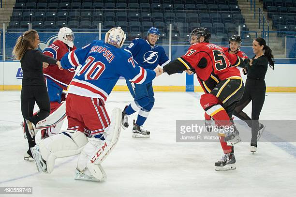 Zach Fucale of the Montreal Canadiens Mackenzie Skapski of the New York Rangers Slater Koekkoek of the Tampa Bay Lightning Emile Poirier of the...