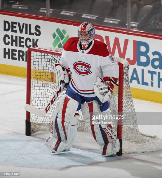 Zach Fucale of the Montreal Canadiens skates in warmups prior to the game against the New Jersey Devils at the Prudential Center on March 6 2018 in...
