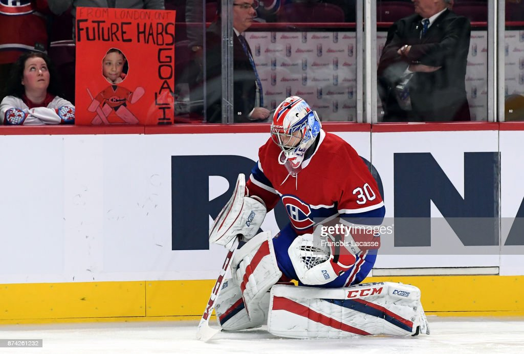 Zach Fucale #30 of the Montreal Canadiens warms up prior to the game against the Columbus Blue Jackets in the NHL game at the Bell Centre on November 14, 2017 in Montreal, Quebec, Canada.