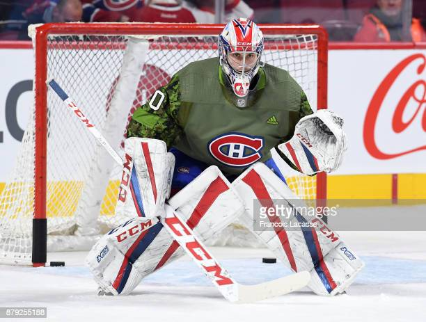 Zach Fucale of the Montreal Canadiens warms up prior to the game against the Buffalo Sabres in the NHL game at the Bell Centre on November 11 2017 in...