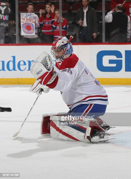 Zach Fucale of the Montreal Canadiens warms up prior to the game against the New Jersey Devils at Prudential Center on March 6 2018 in Newark New...