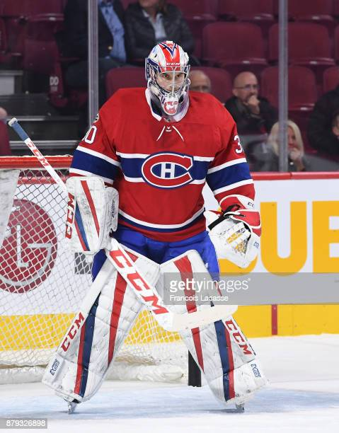 Zach Fucale of the Montreal Canadiens warms up prior to the NHL game against the Columbus Blue Jackets at the Bell Centre on November 14 2017 in...