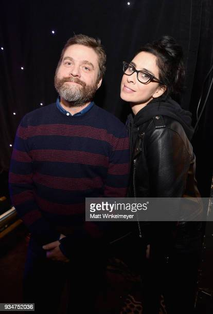 Zach Galifianakis and Sarah Silverman attend the Venice Family Clinic Silver Circle Gala at The Beverly Hilton Hotel on March 19 2018 in Beverly...