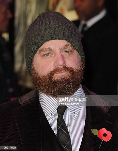 Zach Galifianakis arrives at the European premiere of 'Due Date' at Empire Leicester Square on November 3 2010 in London England
