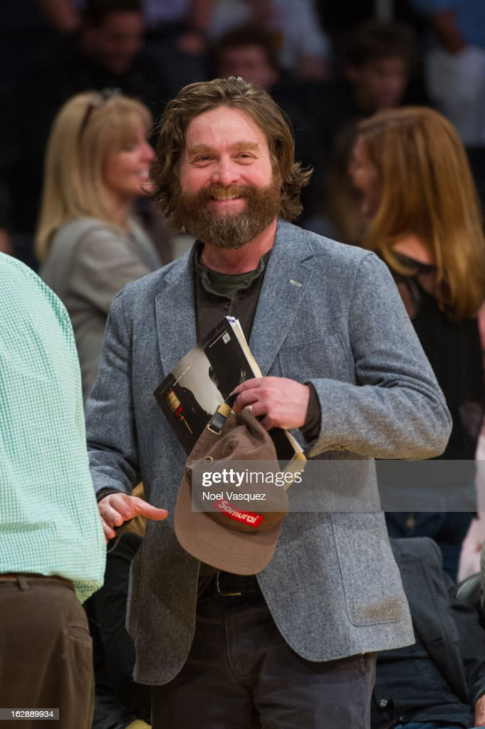 Zach Galifianakis attends a basketball game between the Minnesota Timberwolves and Los Angeles Lakers at Staples Center on February 28, 2013 in Los Angeles, California.