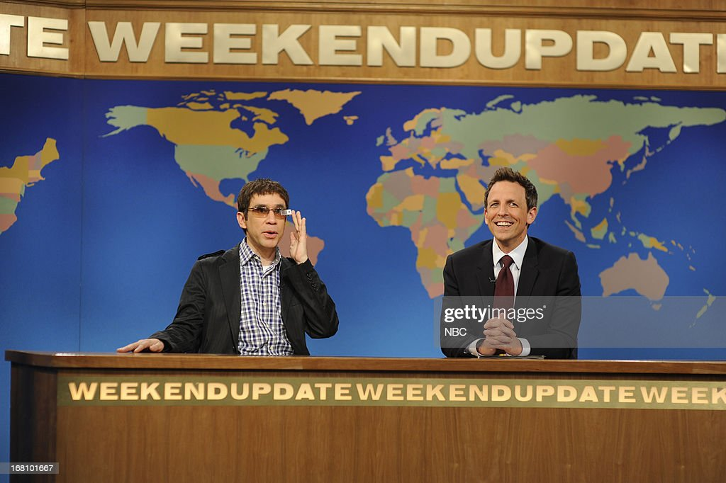 LIVE -- 'Zach Galifianakis' Episode 1639 -- Pictured: (l-r) Fred Armisen with Seth Meyers during a skit on May 4, 2013 --