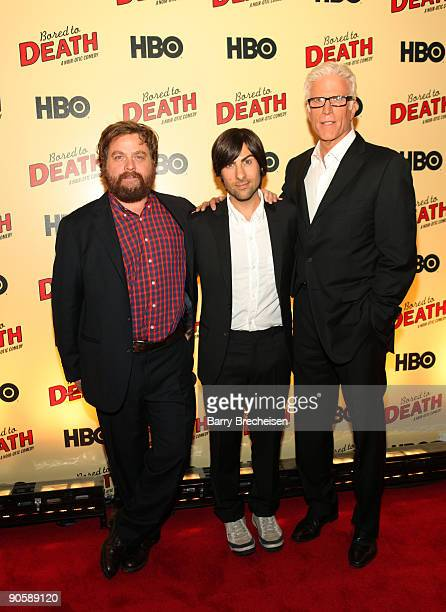 Zach Galifianakis Jason Schwartzman and Ted Danson attend the premiere of HBO's Bored to Death at the Clearview Chelsea Cinemas on September 10 2009...