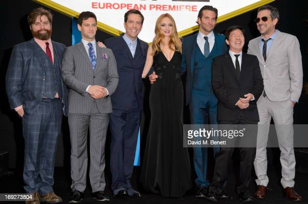 Zach Galifianakis Justin Bartha Ed Helms Heather Graham Bradley Cooper Ken Jeong and Todd Phillips attends the UK Premiere of 'The Hangover III' at...