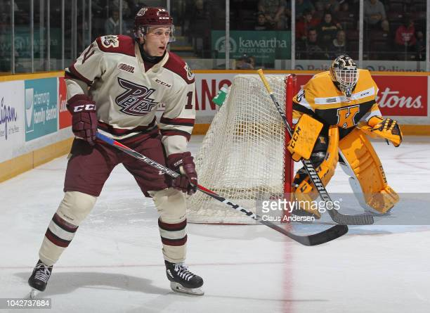 Zach Gallant of the Peterborough Petes skates against the Kingston Frontenacs during an OHL game at the Peterborough Memorial Centre on September 20...