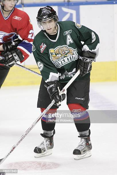 Zach Hamill of Team BurnsBergeron skates during the warmup session of the 2007 Home Hardware CHL/NHL Top Prospects Game against Team BowmanDemers at...