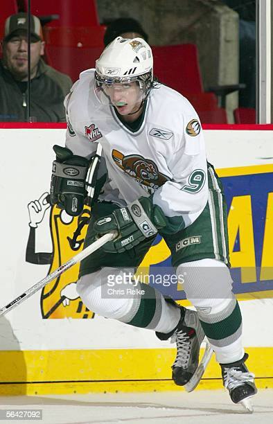 Zach Hamill of the Everett Silvertips skates against the Vancouver Giants during their WHL game on October 28 2005 at Pacific Colisseum in Vancouver...