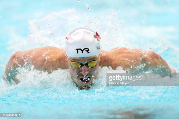 Zach Harting competes in the Men's 100 Meter Butterfly heats on Day Two of the TYR Pro Swim Series at San Antonio on January 15, 2021 in San Antonio,...