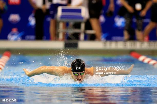 Zach Harting competes in the men's 200m butterfly prelims at the 2018 TYR Pro Series on July 8 2018 in Columbus Ohio