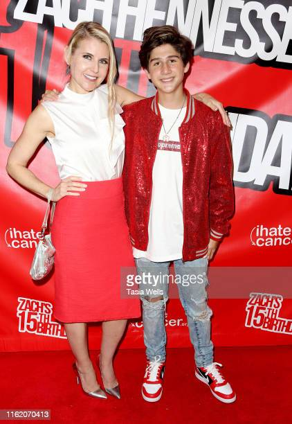Zach Hennessey and Kathy Kolla attend Zach Hennessey's 15th Birthday Party In Support Of iIHateCancerorg at The Industry Loft Space on July 14 2019...