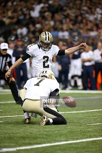 Zach Hocker of the New Orleans Saints kicks a field goal at the MercedesBenz Superdome on August 30 2015 in New Orleans Louisiana