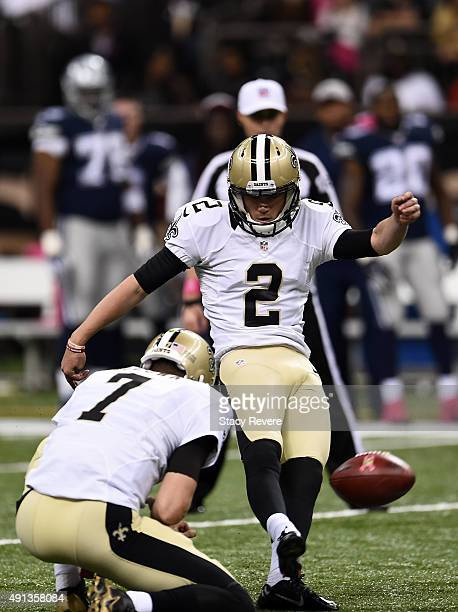 Zach Hocker of the New Orleans Saints kicks the ball during the third quarter against the New Orleans Saints at MercedesBenz Superdome on October 4...