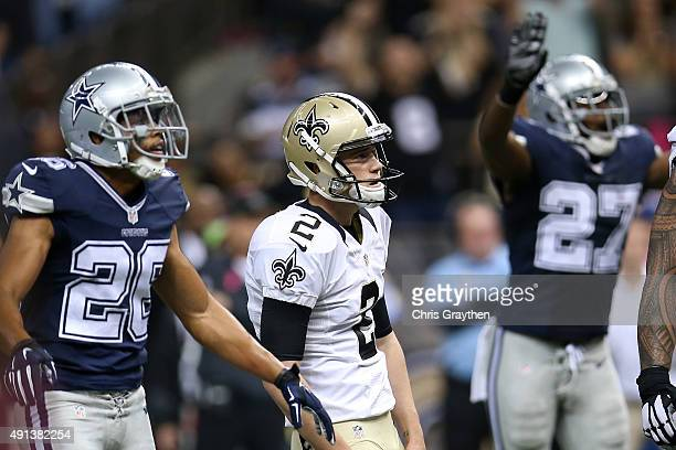 Zach Hocker of the New Orleans Saints reacts after missing a field goal against the Dallas Cowboys at MercedesBenz Superdome on October 4 2015 in New...