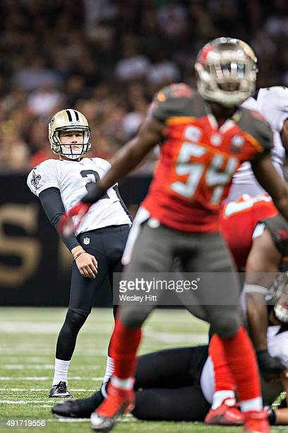 Zach Hocker of the New Orleans Saints watches his missed field goal attempt against the Tampa Bay Buccaneers at MercedesBenz Superdome on September...