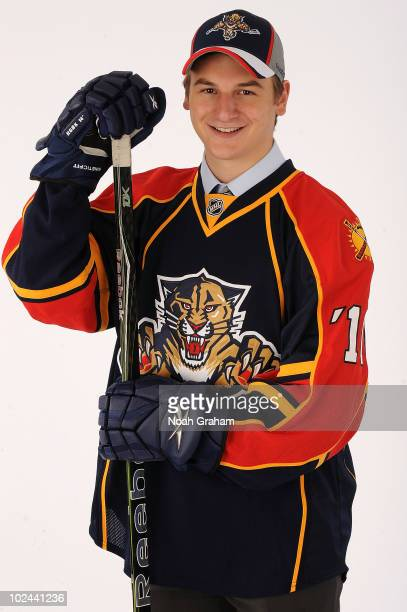 Zach Hyman drafted in the fifth round by the Florida Panthers poses for a portrait during the 2010 NHL Entry Draft at Staples Center on June 26 2010...