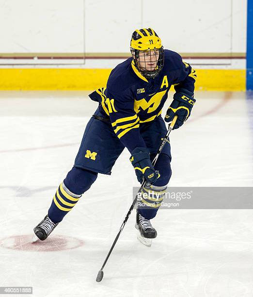 Zach Hyman of the Michigan Wolverines warms up before NCAA hockey against the Boston College Eagles at Kelley Rink on December 13 2014 in Chestnut...
