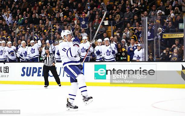 Zach Hyman of the Toronto Maple Leafs celebrates after scoring against the Boston Bruins during the second period at TD Garden on December 10 2016 in...