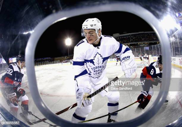 Zach Hyman of the Toronto Maple Leafs plays against the Washington Capitals during the second period of the 2018 Coors Light NHL Stadium Series game...