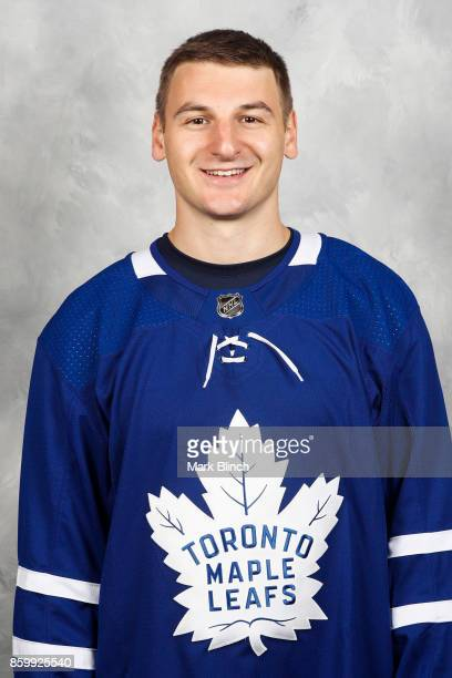 Zach Hyman of the Toronto Maple Leafs poses for his official headshot for the 20172018 season on September 14 2017 at the MasterCard Centre in...