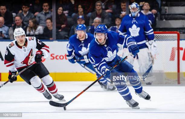 Zach Hyman of the Toronto Maple Leafs skates against the Arizona Coyotes during the third period at the Scotiabank Arena on January 20 2019 in...