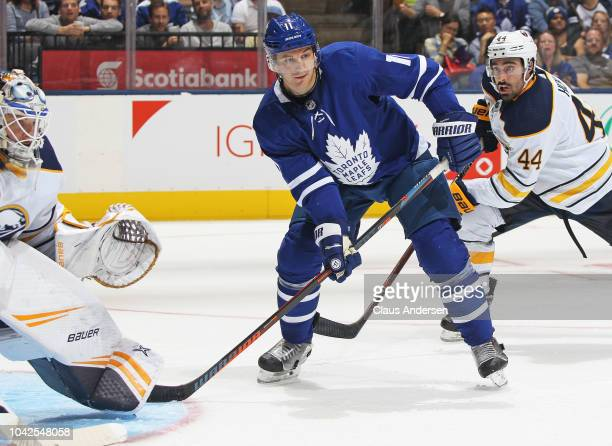 Zach Hyman of the Toronto Maple Leafs skates against the Buffalo Sabres during an NHL preseason game at Scotiabank Arena on September 21 2018 in...