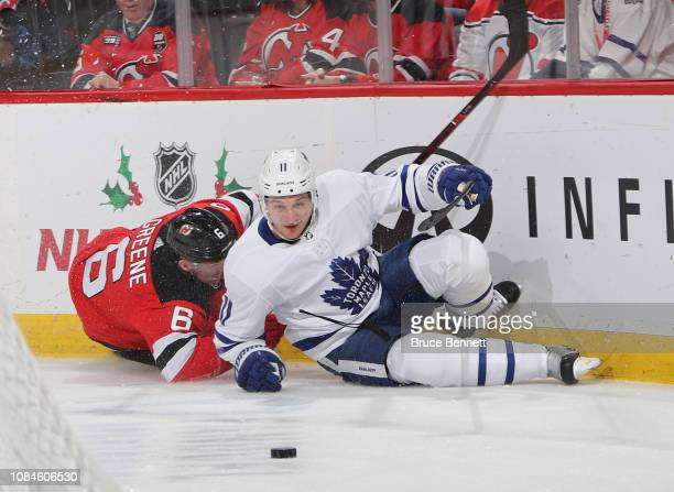Zach Hyman of the Toronto Maple Leafs skates against the New Jersey Devils at the Prudential Center on December 18 2018 in Newark New Jersey The...