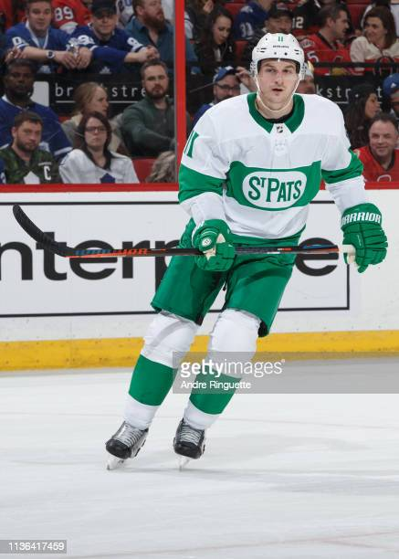 Zach Hyman of the Toronto Maple Leafs skates against the Ottawa Senators at Canadian Tire Centre on March 16 2019 in Ottawa Ontario Canada