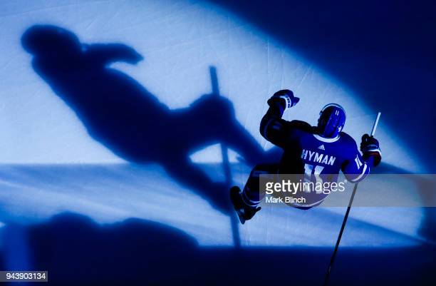 Zach Hyman of the Toronto Maple Leafs takes the ice against the Montreal Canadiens at the Air Canada Centre on April 7 2018 in Toronto Ontario Canada